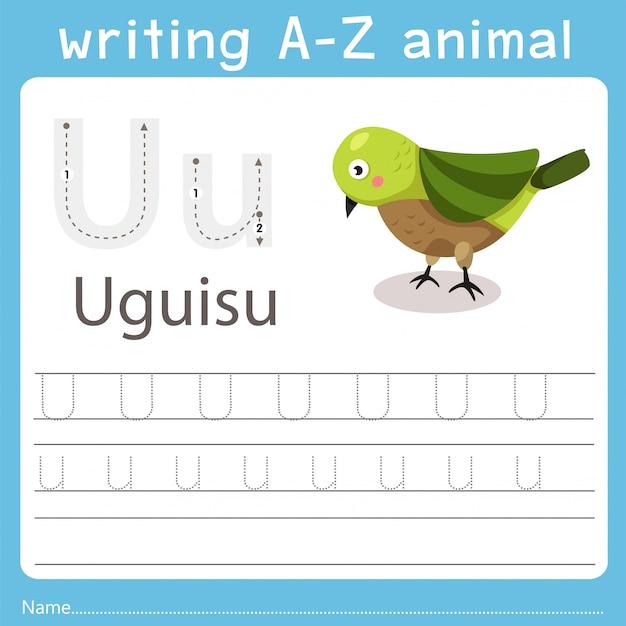 Ilustrador, escrita, az, animal, de, uguisu