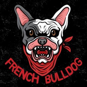 Ilustrador esport do logotipo da cabeça do buldogue francês