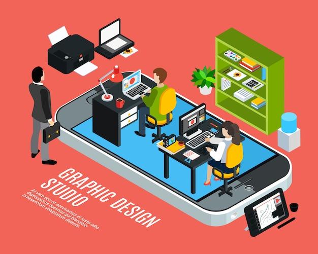 Ilustrador ou designer, trabalhando no estúdio de design gráfico isométrico conceito colorido ilustração em vetor 3d