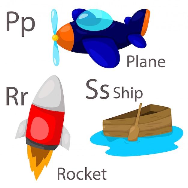 Ilustrador para veículos conjunto 3 com avião, navio e foguete