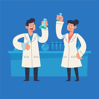 Ilustrados cientistas trabalhando juntos em laboratório