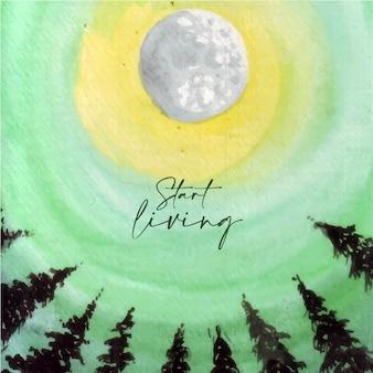 Ilustration aquarela fundo vistas do céu ao amanhecer com a lua cheia.