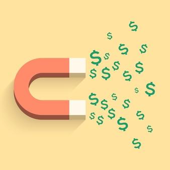 Ímã com ilustração de negócios de dinheiro