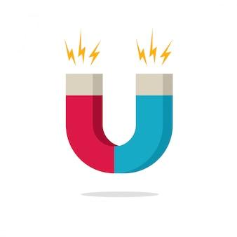 Ímã com ilustração em vetor ícone poder magnético design plana dos desenhos animados