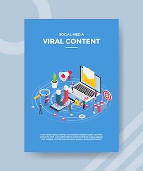 Ímã de conteúdo viral de mídia social em e-mail de smartphone em laptops em pé