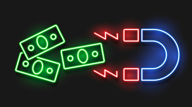 Ímã e dinheiro no estilo de efeito neon.