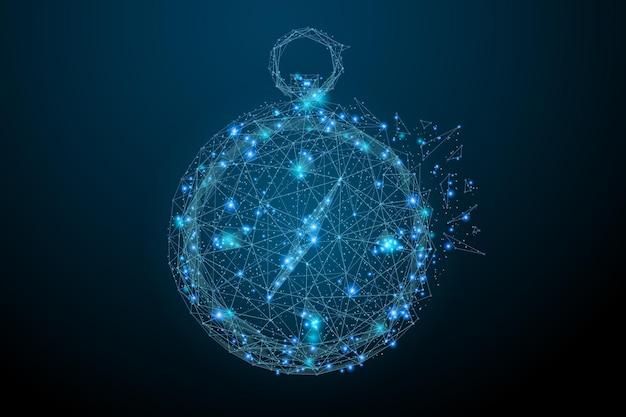 Imagem abstrac de low poly blue da bússola de uma bússola na forma de um céu estrelado ou espaço