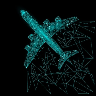 Imagem abstrata da vista superior de um avião de passageiros na forma de um céu estrelado ou espaço, consistindo em pontos, linhas e formas na forma de planetas, estrelas e o universo.