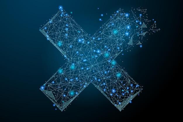 Imagem abstrata de uma cruz x na forma de um céu estrelado ou espaço composto por pontos e linhas