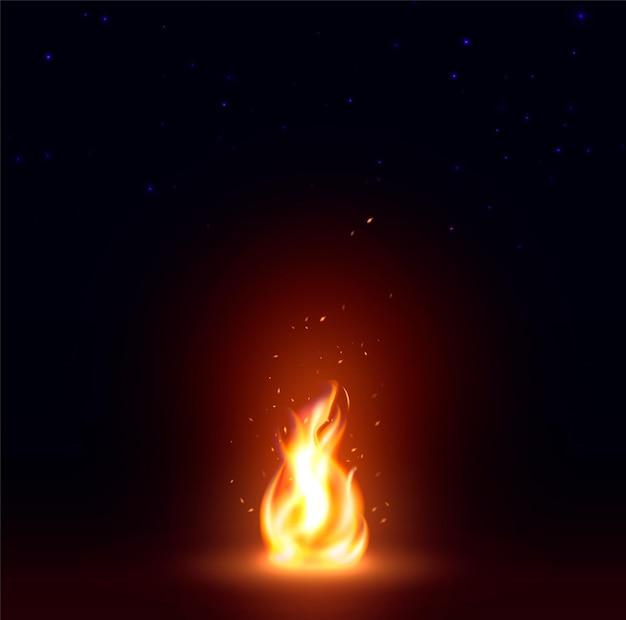 Imagem abstrata isolada de chama de fogo realista