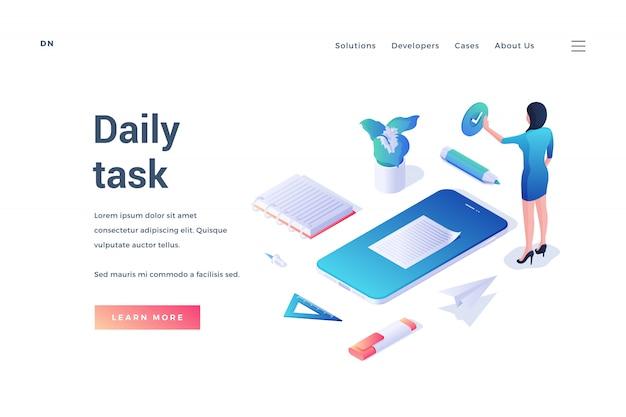 Imagem com design isométrico de site que oferece informações sobre tarefas diárias e mulher com ícones de questões cotidianas em fundo branco