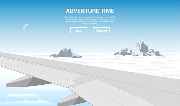 Imagem da asa de um avião voando com nuvens e picos de montanhas no fundo, ilustração do estilo