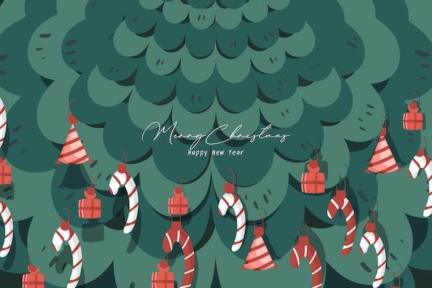 Imagem da capa para ilustrações de celebrações de natal e ano novo ilustrações de árvores de natal.