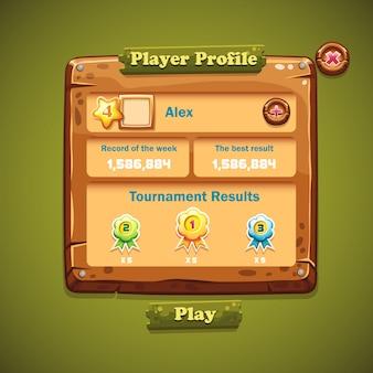 Imagem da interface do usuário do windows em madeira. perfil do jogador