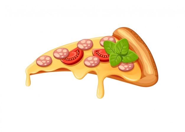 Imagem de carnes de pizzas criativas. pizza italiana de ícone. uma fatia de pizza para publicidade do seu restaurante.