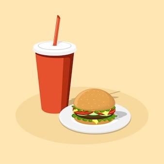 Imagem de cheeseburger no prato e copo de cola de papel