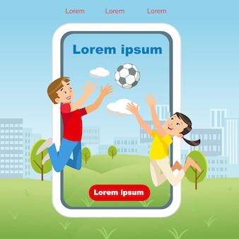 Imagem de conceito de vetor feliz crianças jogo bola de futebol
