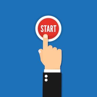 Imagem de conceito do empresário mão pressionando botão iniciar ilustração