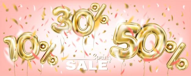 Imagem de coral de porcentagem de venda de balão de ouro