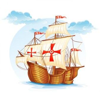 Imagem de desenho animado de um veleiro da espanha, século xv