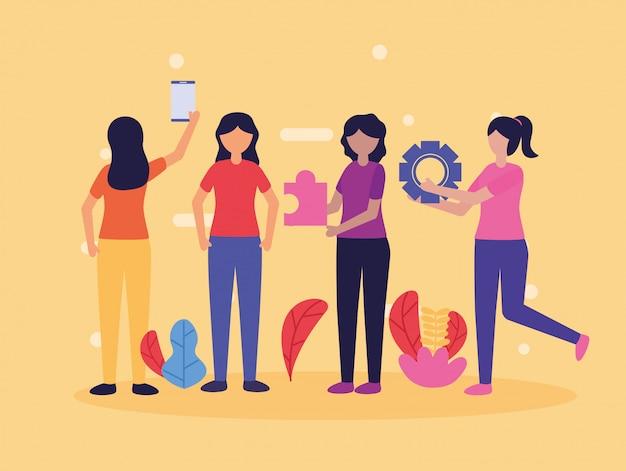 Imagem de design plano de trabalho em equipe de pessoas