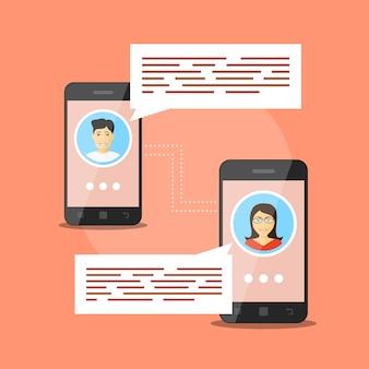 Imagem de dois smartphones com avatares de pessoas e balões de fala, conceito de comunicação móvel, videochamada