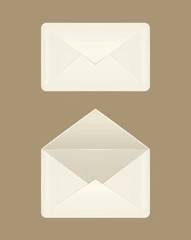 Imagem de envelopes abertos e fechados em branco