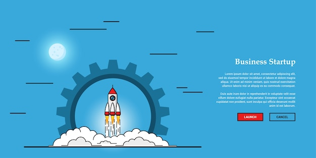 Imagem de foguete voador, conceito de banner de inicialização de negócios,