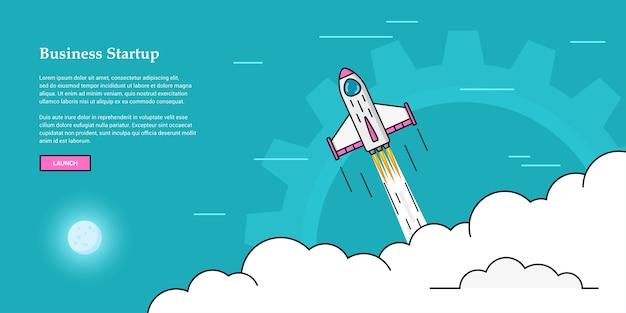 Imagem de foguete voando acima das nuvens, conceito de banner de inicialização de negócios,