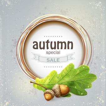 Imagem de fundo para a grande liquidação de outono com folhas de carvalho com bolotas