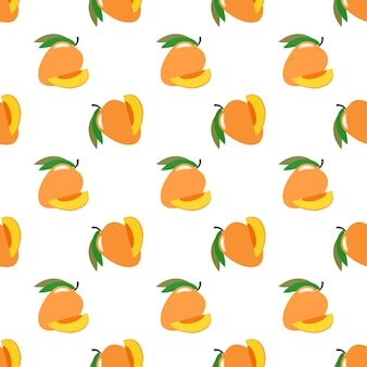 Imagem de fundo sem costura colorida fruta tropical manga