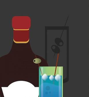 Imagem de garrafa de copo e licor de bebida coquetel