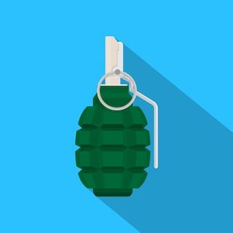 Imagem de granada verde sobre fundo azul, ilustração de estilo