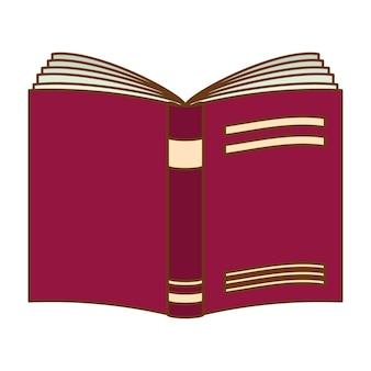 Imagem de ícone aberto de caderno roxo