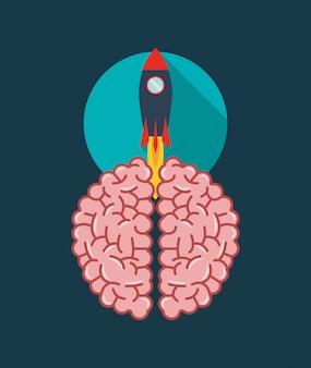Imagem de ícone do cérebro humano e foguete