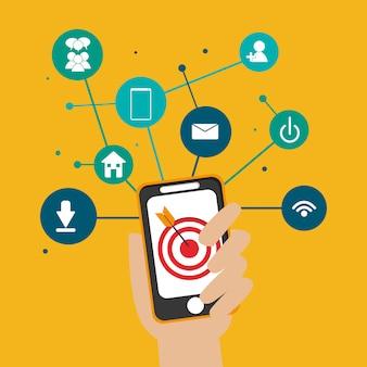 Imagem de ícones relacionados de comunicação de rede social digital