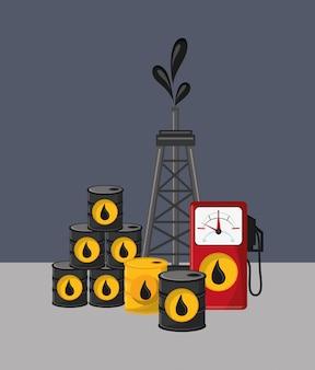 Imagem de ícones relacionados de extração e refinamento de óleo de petróleo