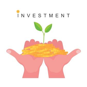 Imagem de investimento com a mão segurando uma moeda com plantas e folhas
