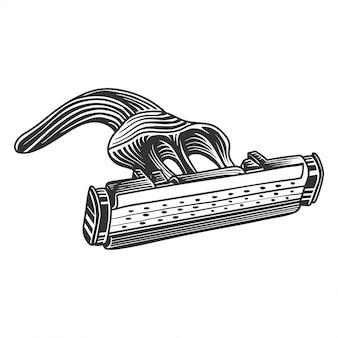 Imagem de lâmina de barbear monocromática, estilo retro. isolado no branco