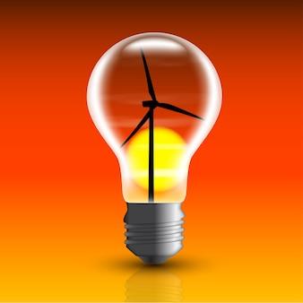 Imagem de lâmpada elétrica com moinho de vento dentro,