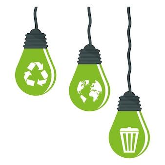 Imagem de lâmpadas de cuidado do planeta verde