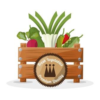 Imagem de madeira de caixa de qualidade premium legumes frescos