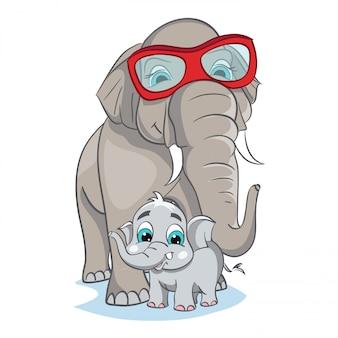 Imagem de mãe elefante com bebê elefante.