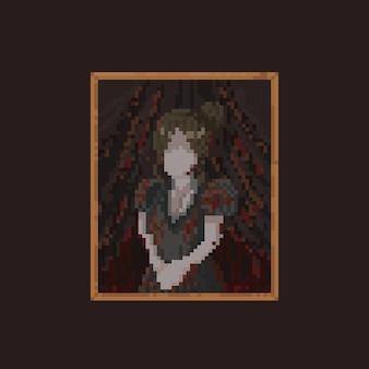 Imagem de mulher assustadora de pixel art com moldura antiga