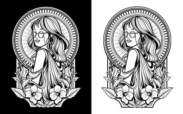 Imagem de mulher com óculos em preto e branco