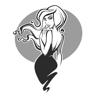 Imagem de mulher de beleza e glamour com cabelos ricos