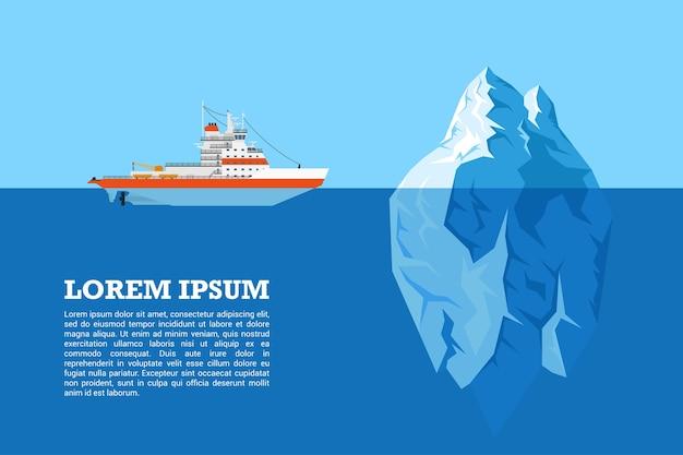 Imagem de navio quebra-gelo a diesel e iceberg,