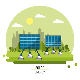 Imagem de paisagem colorida painéis de energia solar