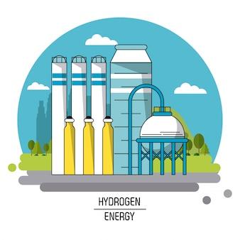 Imagem de paisagem colorida planta de produção de energia de hidrogênio