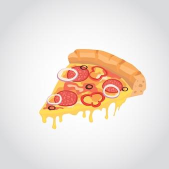 Imagem de pizzas criativas. uma fatia de pizza para a concepção de publicidade da sua restauração. pepperoni de ilustração dos desenhos animados.